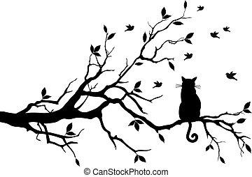Gato en un árbol con pájaros, vector