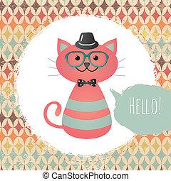 Gato hipster en ilustración texturada de diseño