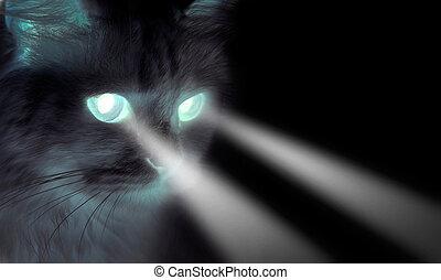 Gato negro con ojos brillantes