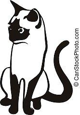 Gato negro sentado, silueta en un fondo blanco.