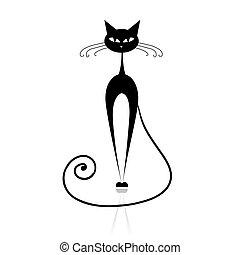 gato, negro, su, diseño, silueta