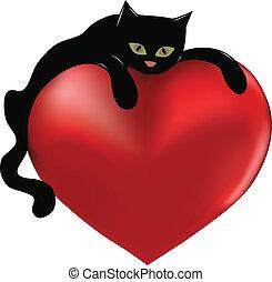 Gato negro y corazón