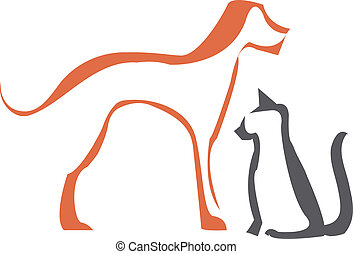 gato, perro, contornos