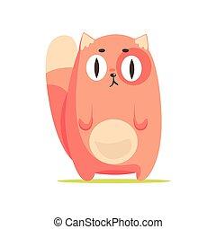 Gato rojo divertido con ojos grandes, lindo dibujo animado vector de caracter de animal Illustración