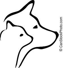 Gato y perro se van al logo