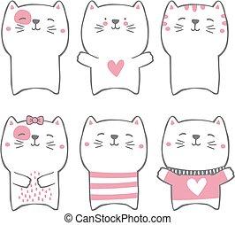 Gatos con estilo dibujados a mano