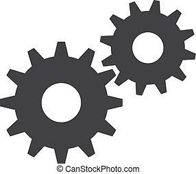Gears icono en negro en un fondo blanco. Ilustración de vectores