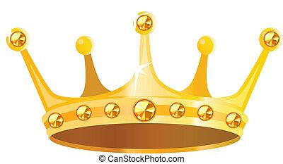 gemas, corona oro, aislado, plano de fondo, blanco