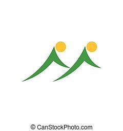 gemelo, símbolo, logotipo, vector, sol, montaña