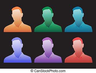 genérico, colorido, serie, avatar, elecciones