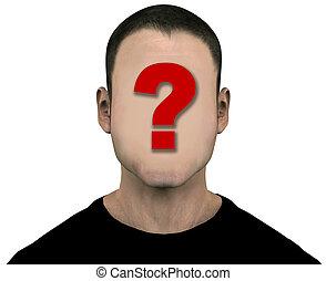 genérico, desconocido, cara, anónimo, blanco, vacío, hombre