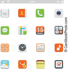 genérico, smartphone, ui, iconos
