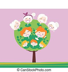 generación, árbol, triple, familia