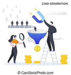 generación, conversion., plomo, ganancia, plano, illustration., vector, clientes, process., potencial, embudo, ventas, atraer, proceso, empresa / negocio