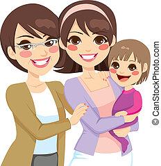 generación, familia joven, tres