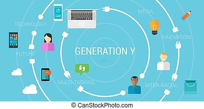 generación, smartphone, o, millennials