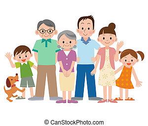 generación, tres, familia