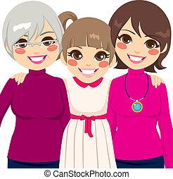 generación, tres, familia , mujeres