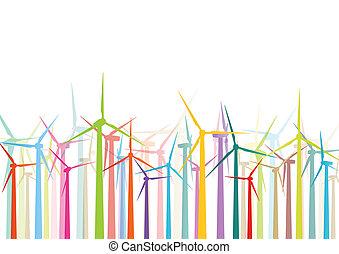 Generadores de electricidad eólica coloridos y molinos de viento detallaron las siluetas de electricidad ecología ilustran el vector de recolección de fondos