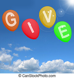 generoso, palabra, elasticidad, ayuda, donaciones, caridad, globos, exposiciones