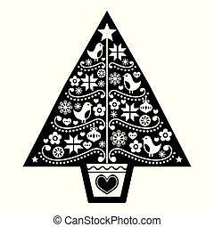 gente, árbol, diseño, escandinavo, -, patrón, arte, flores blancas, negro, copos de nieve, vector, aves, navidad