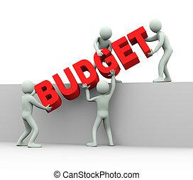 gente, -, 3d, presupuesto, concepto