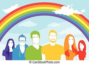 gente, alegre, mismo, mujeres, lesbiana, sexo, hombre, grupo