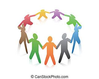 Gente alrededor de un círculo