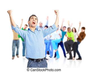 gente, aplausos, abrazar, feliz, grupo