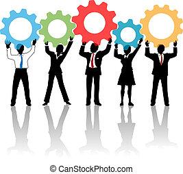 gente, arriba, engranajes, equipo, solución, tecnología