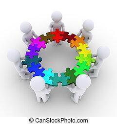 gente, artículos del rompecabezas, conectado, tenencia, círculo
