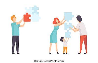 gente, artículos del rompecabezas, juntos, solución, tratar, hallazgo, conjunto, plano, familia , ilustración, vector, de conexión