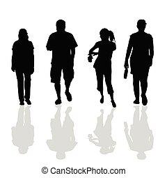 Gente caminando silueta negra