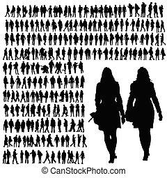Gente caminando silueta negro vector