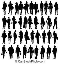 Gente caminando silueta vector negro