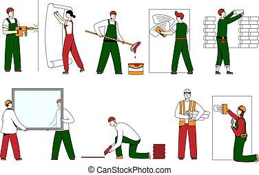 gente, cascos, carácter, ilustración, edificio, arte, aislado, línea, vector, ropa, white., constructor, trabajo