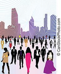 gente, ciudad, urbano