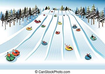 gente, colina, tubería, teniendo, el sledding, invierno, diversión, durante
