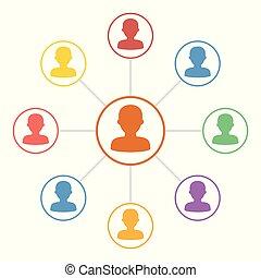 Gente colorida conecta iconos