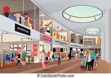 Gente comprando en un centro comercial