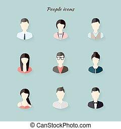Gente con íconos al estilo moderno. Ilustración de vectores