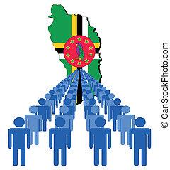 Gente con bandera de mapa Dominica