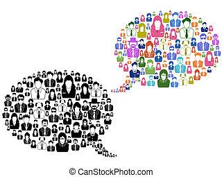 Gente con iconos en la burbuja del habla
