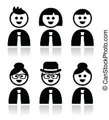 Gente con ropa de trabajo íconos
