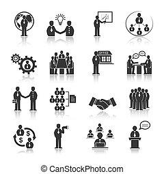 gente, conjunto, reunión, iconos del negocio