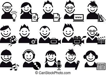 Gente creativa, iconos del vector