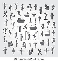 Gente de acción y íconos de higiene listos