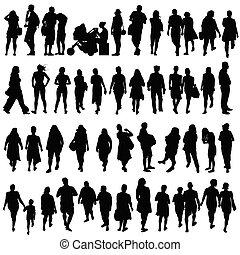 Gente de color negro vector de silueta