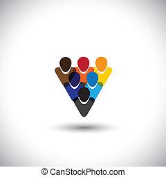 Gente de color que muestra integridad en la unidad, vector conceptual. Este gráfico también representa a la comunidad de Internet, la comunidad de redes sociales en línea, las redes sociales, empleados, personal de oficina, etc