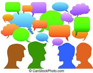 Gente de comunicación en burbuja de habla